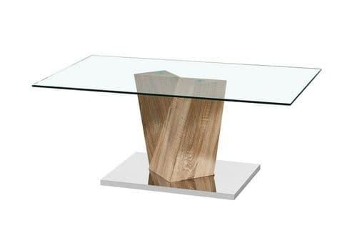 OAK EFFECT BASE GLASS TOP CONTEMPORARY COFFEE TABLE