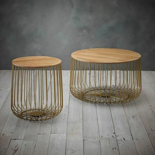 OAK WOODEN TOP GOLD WIRE ROUND STORAGE BASKET COFFEE END SIDE LAMP TABLE