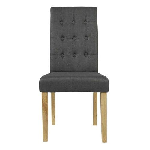 PAIR 2 CHARCOAL GREY LINEN UPHOLSTERED BUTTON BACK DINING CHAIR SOLID WOOD LEGS