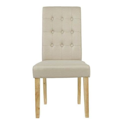 PAIR 2 NATURAL BEIGE LINEN UPHOLSTERED BUTTON BACK DINING CHAIR SOLID WOOD LEGS