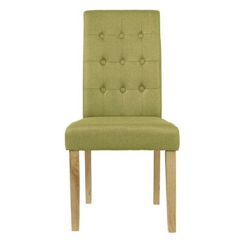 PAIR 2 PALM GREEN LINEN UPHOLSTERED BUTTON BACK DINING CHAIR SOLID WOOD LEGS