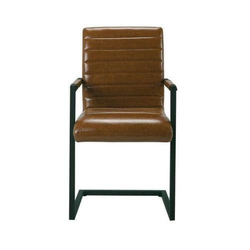 PAIR 2 TAN BROWN FAUX LEATHER CARVER DINING CHAIR WITH METAL FRAME