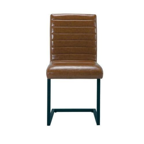 PAIR 2 TAN BROWN FAUX LEATHER DINING CHAIR WITH METAL FRAME