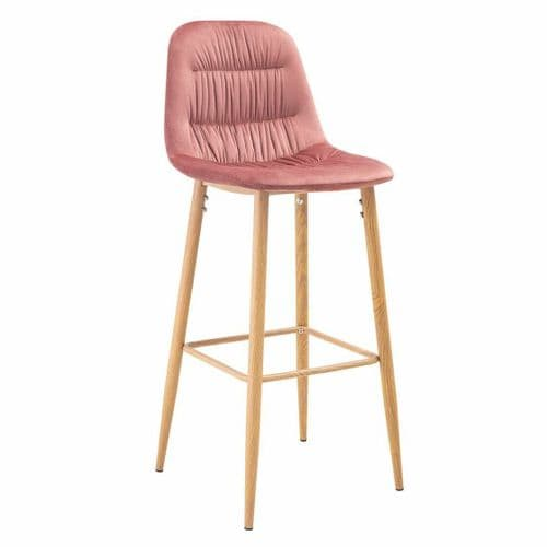 PAIR OF 2 BLUSH PINK PLEATED VELVET SEAT BAR STOOLS WITH WOODEN LEGS