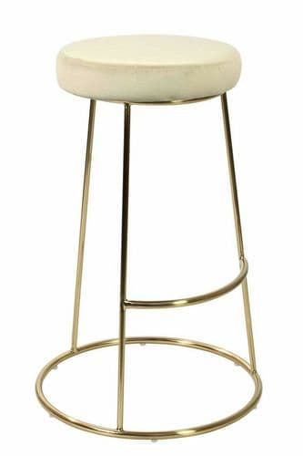 PAIR OF 2 CHAMPAGNE CREAM VELVET SEAT BAR STOOLS WITH GOLD LEGS