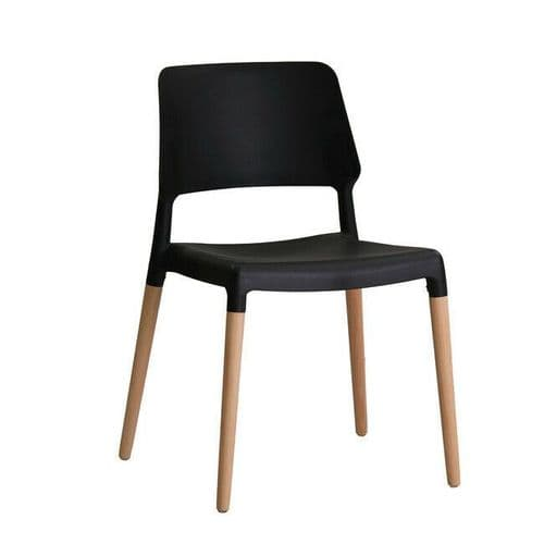 PAIR OF 2 CONTEMPORARY BLACK SCANDI DINING CHAIR WITH OAK LEGS