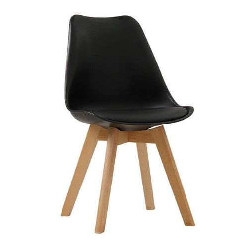 PAIR OF 2 CONTEMPORARY BLACK SCANDI DINING CHAIR WITH PADDED SEAT & OAK LEGS