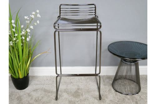 PAIR OF 2 CONTEMPORARY DARK SILVER GREY METAL BAR KITCHEN TABLE STOOLS (DX6384)