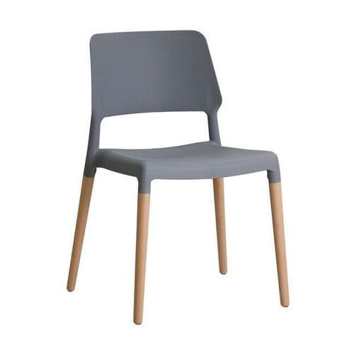 PAIR OF 2 CONTEMPORARY GREY SCANDI DINING CHAIR WITH OAK LEGS