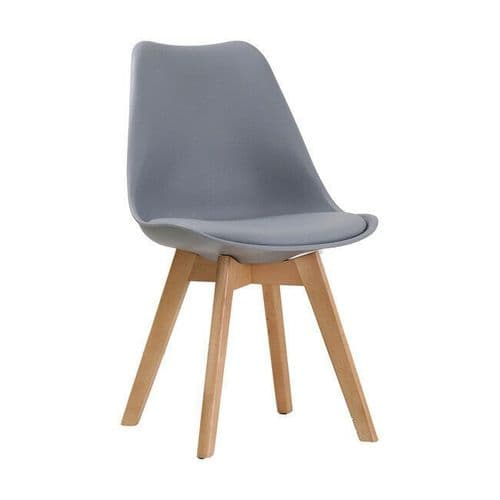 PAIR OF 2 CONTEMPORARY GREY SCANDI DINING CHAIR WITH PADDED SEAT & OAK LEGS