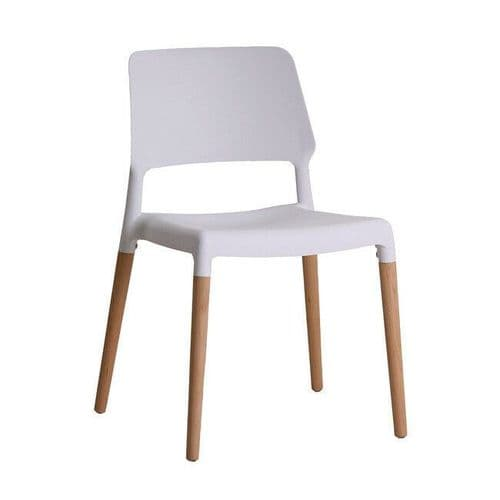 PAIR OF 2 CONTEMPORARY WHITE SCANDI DINING CHAIR WITH OAK LEGS