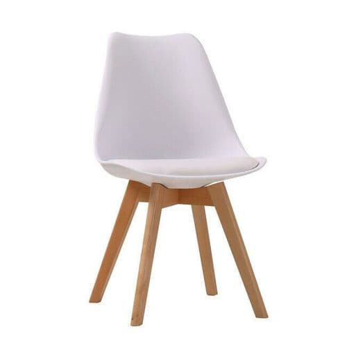 PAIR OF 2 CONTEMPORARY WHITE SCANDI DINING CHAIR WITH PADDED SEAT & OAK LEGS