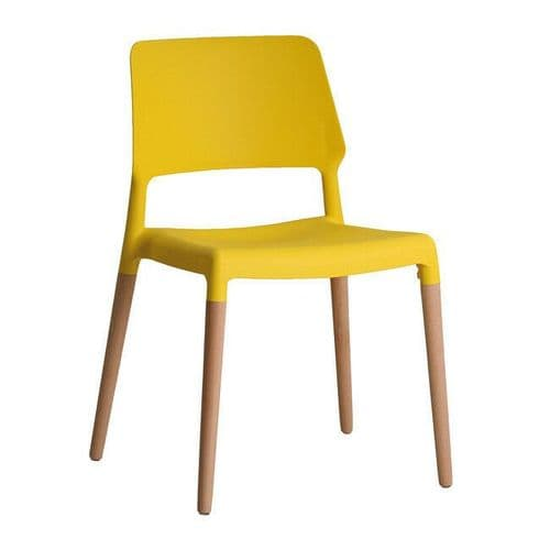 PAIR OF 2 CONTEMPORARY YELLOW SCANDI DINING CHAIR WITH OAK LEGS