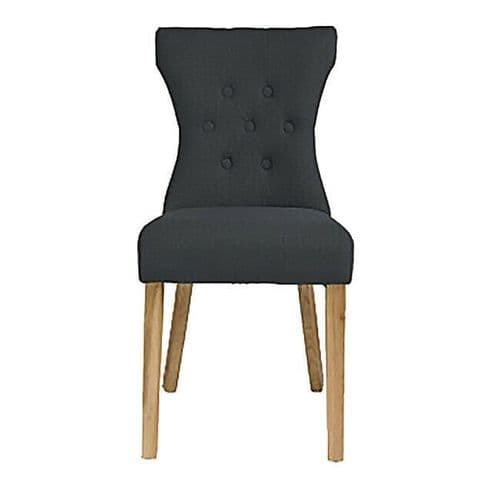 PAIR OF 2 DARK GREY LINEN FABRIC BUTTON BACK DINING CHAIRS SOLID ASH LEGS