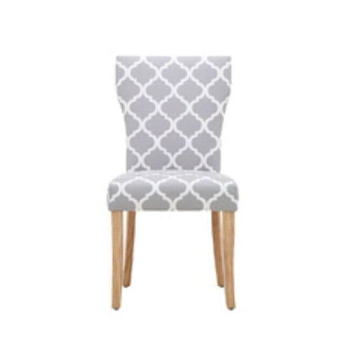 PAIR OF 2 GREY WHITE PATTERNED UPHOLSTERED FABRIC DINING CHAIRS