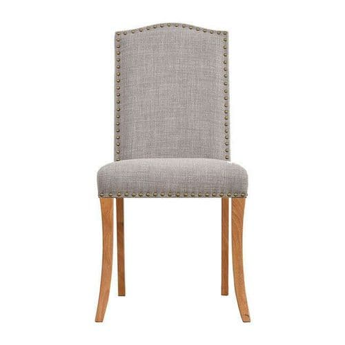 PAIR OF 2 LIGHT GREY LINEN STUDDED DINING CHAIR OAK WOODEN LEGS