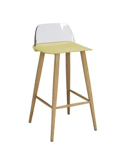 PAIR OF 2 LIME YELLOW FAUX LEATHER MODERN DINING BAR KITCHEN STOOLS