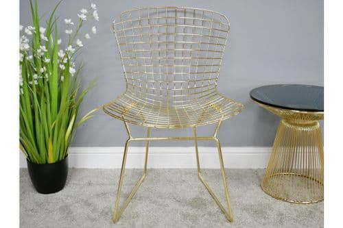 PAIR OF 2 MODERN METALLIC GOLD METAL ACCENT DINING CHAIRS (DX6395)