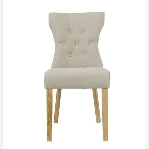 PAIR OF 2 NATURAL BEIGE LINEN FABRIC BUTTON BACK DINING CHAIRS SOLID ASH LEGS