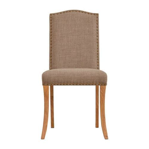PAIR OF 2 NATURAL BEIGE LINEN STUDDED DINING CHAIR OAK WOODEN LEGS