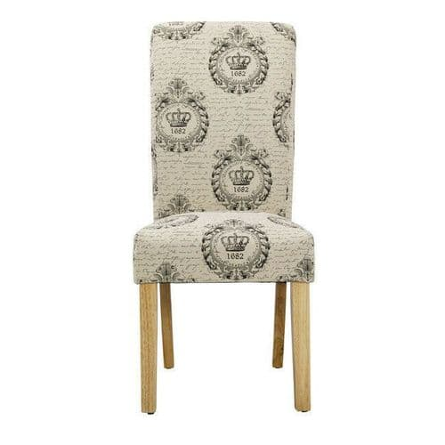 PAIR OF 2 NATURAL BEIGE REGAL PATTERNED UPHOLSTERED FABRIC DINING CHAIRS