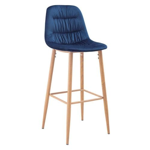 PAIR OF 2 NAVY ROYAL BLUE PLEATED VELVET SEAT BAR STOOLS WITH WOODEN LEGS