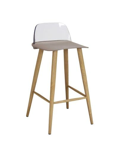 PAIR OF 2 STONE TAUPE BEIGE FAUX LEATHER MODERN DINING BAR KITCHEN STOOLS