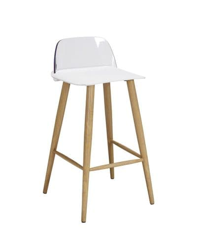 PAIR OF 2 WHITE FAUX LEATHER MODERN DINING BAR KITCHEN STOOLS OAK EFFECT LEGS