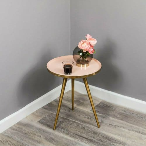 PASTEL PALE BABY PINK ENAMEL GOLD METAL ROUND SIDE END LAMP TRAY TABLE