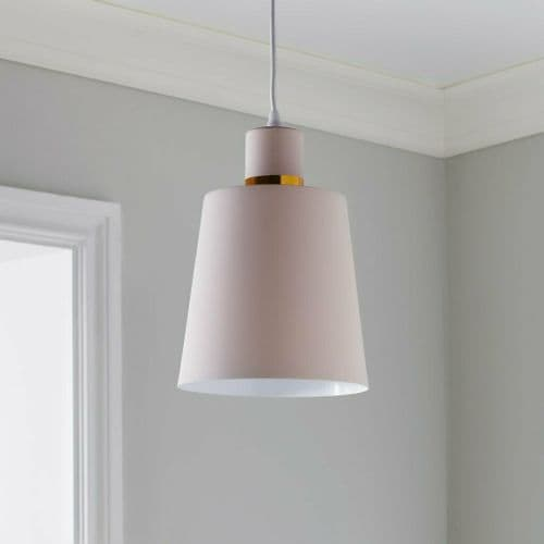 PASTEL PALE BABY PINK & GOLD CONTEMPORARY CEILING PENDANT LIGHT