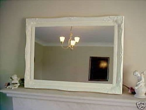 "PLAIN CREAM ORNATE LARGE WALL MIRROR - 26"" x 36"" (65cm x 90cm) - Superb Quality"