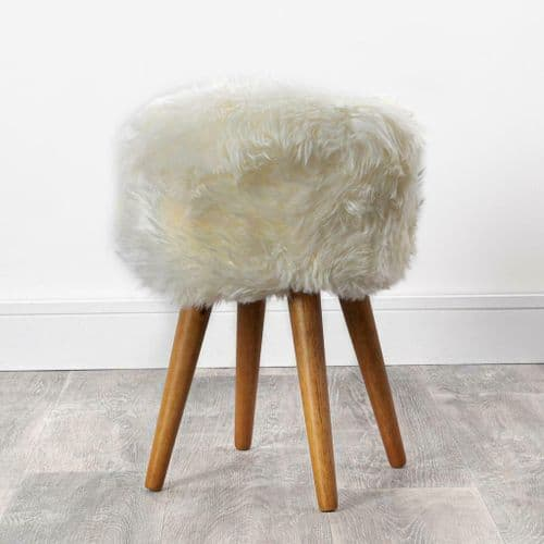 Round Genuine Sheepskin Dressing Table Stool with Brown Wood Legs (ST-SK-WOOD)
