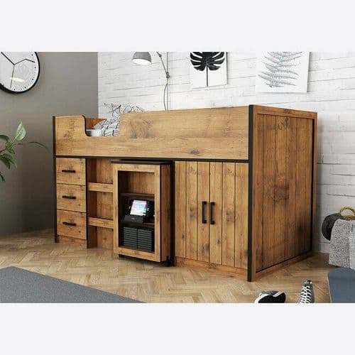 RUSTIC COUNTRY OAK CHILDS MID SLEEPER BED WITH PULL OUT TABLE & STORAGE DRAWERS