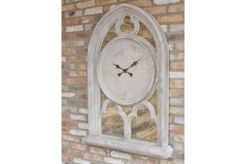 Rustic Distressed Grey White Ornate Mirrored Arched Wall Clock (DX5658) 130cm