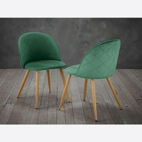 SET OF 2 VENICE GREEN QUILTED VELVET DINING CHAIRS WOODEN LEGS