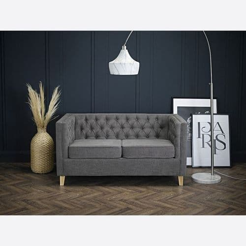 SLATE GREY CHENILLE 2 SEATER BUTTON BACK CHESTERFIELD STYLE SOFA