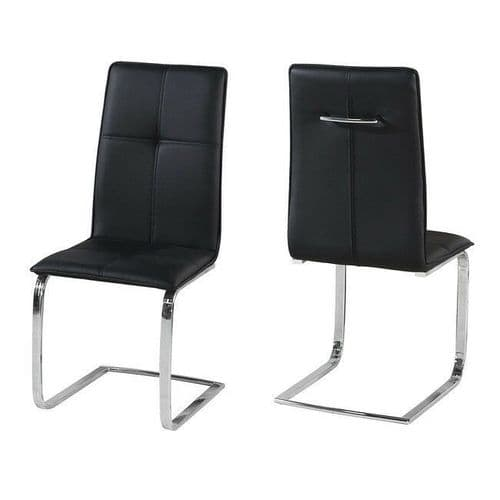 SLEEK MODERN BLACK FAUX LEATHER PAIR 2 DINING CHAIRS WITH POLISHED CHROME LEGS