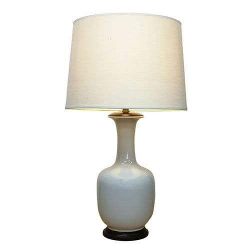 Tall Ivory White Bottle Vase Crackled Porcelain Ceramic Table Lamp (M12494)