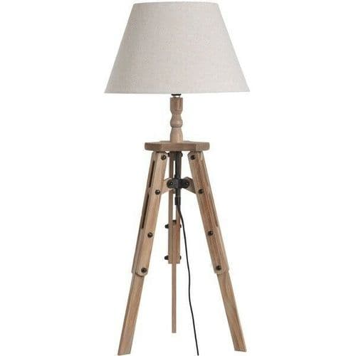 Traditional Antique Style Brown Wood Tripod Table Desk Lamp (H18557)