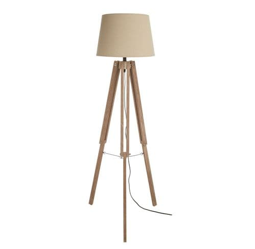 Vintage Style White Washed Wooden Brown Tripod Floor Standing Lamp 150cm