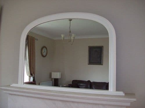 """WHITE ARCHED OVERMANTLE MIRROR - Width 47"""" x Height 31"""" (120cm x 78cm)"""