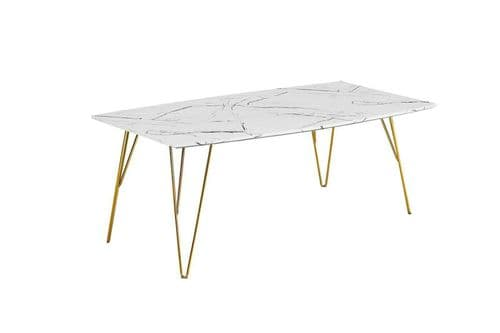 WHITE MARBLE EFFECT TOP COFFEE TABLE GOLD METAL LEGS