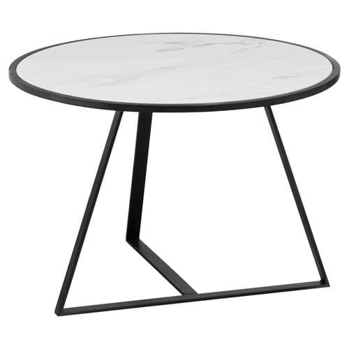 WHITE MARBLE & GREY BLACK METAL ROUND LOW COFFEE SIDE END LAMP TABLE