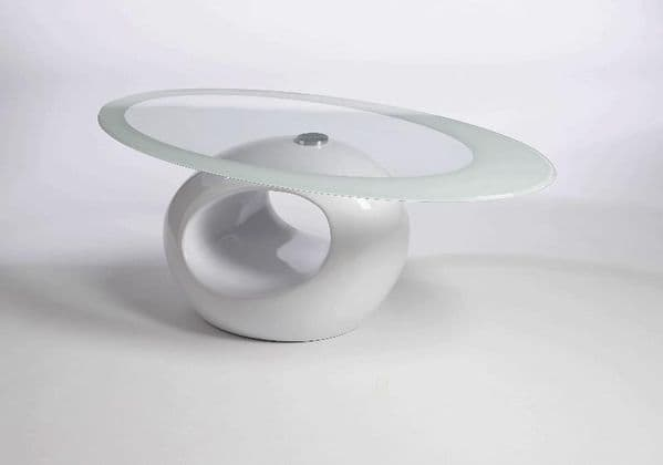 Contemporary Retro Designed Oval Coffee Table (White) | UKCOFFEETABLES.COM