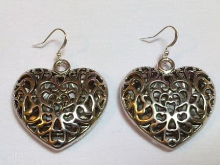 Puffed filigree heart earrings