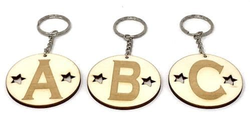 A - Z Alphabet Initial Keyrings Wooden Laser Cut and Engraved