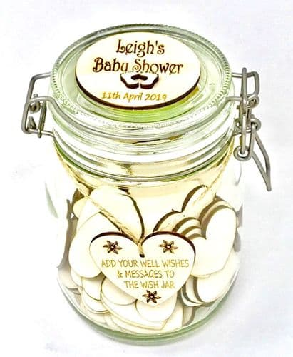 Baby Shower Wish Jar Welcome Baby Guest Book Mum To Be Blank Hearts