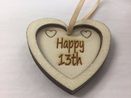 Happy Birthday Hanging Heart, 13th, 16th, 18th, 21st, 30th, 40th, 50th, 60th, 70
