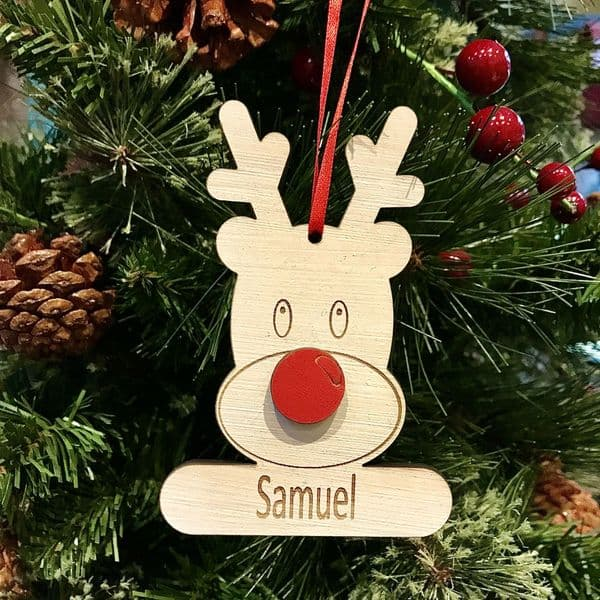 Laser Cut And Engraved Personalised Rudolph Christmas Tree Decoration