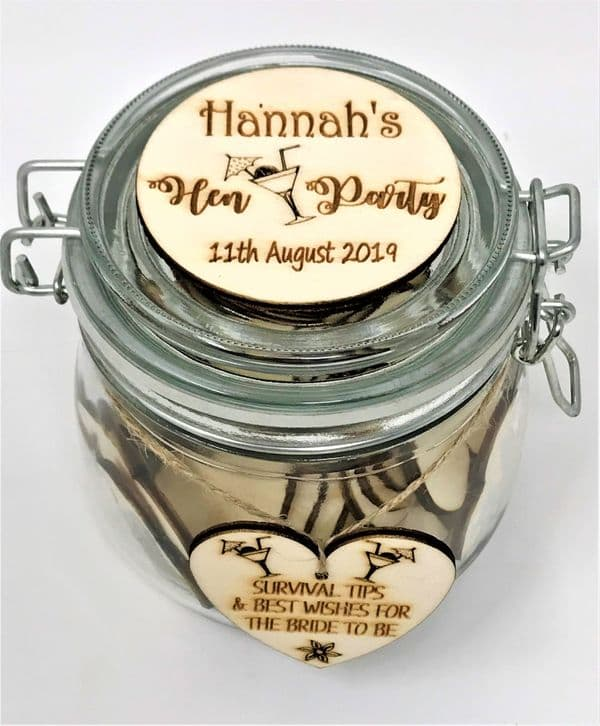 Personalised Hen Party Wish Jar Survival Tips Bride To Be Hen Do Wishing Memory Jar